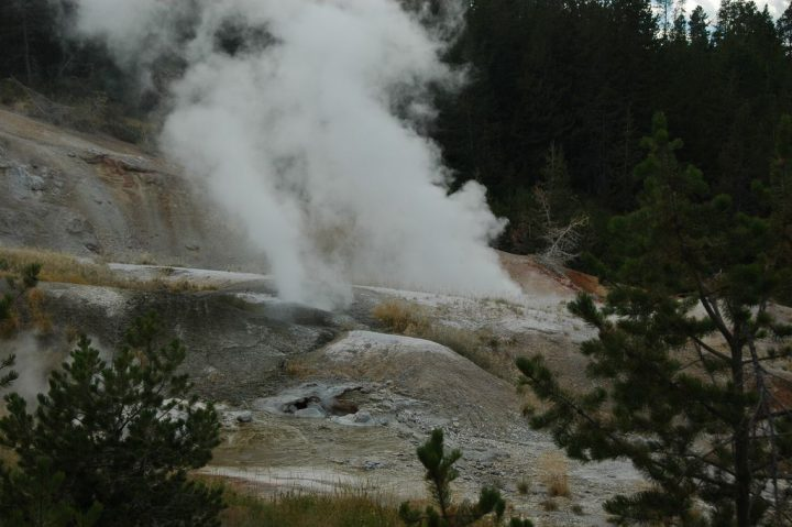 photo credit: Black Growler Steam Vent (center left - steaming) & Guardian Geyser (center right - steaming) & Ledge Geyser (gray vents near bottom) (10 August 2011) 1 via photopin (license)